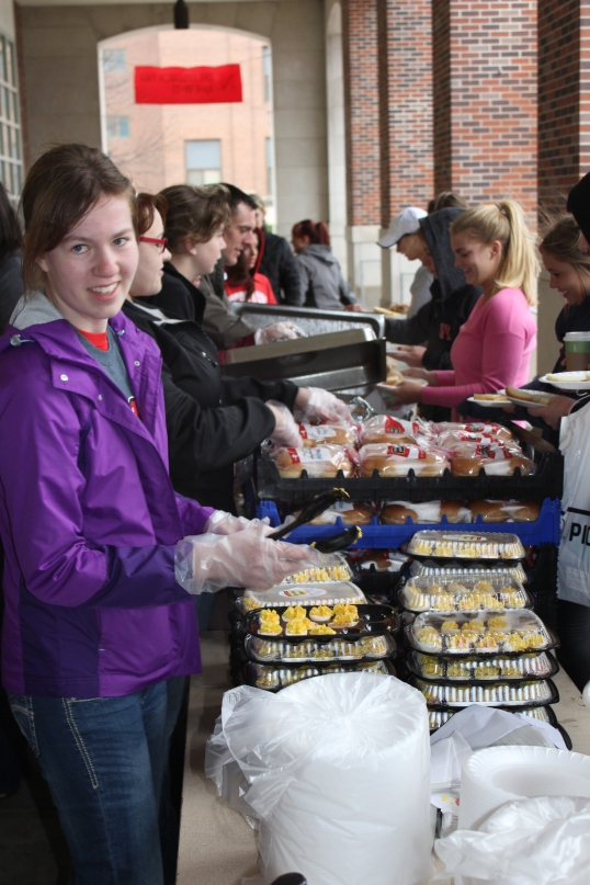 Photograph from Husker Food Connection on April 9, where over 1,500 meals were served to UNL students helping to educate them on Nebraska Agriculture.