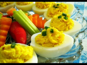 a5 Recipes- Bacon Cheddar Deviled eggs
